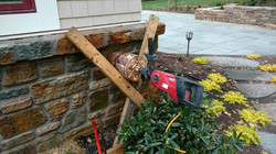 Core Drilling Through Stone Foundation Wall