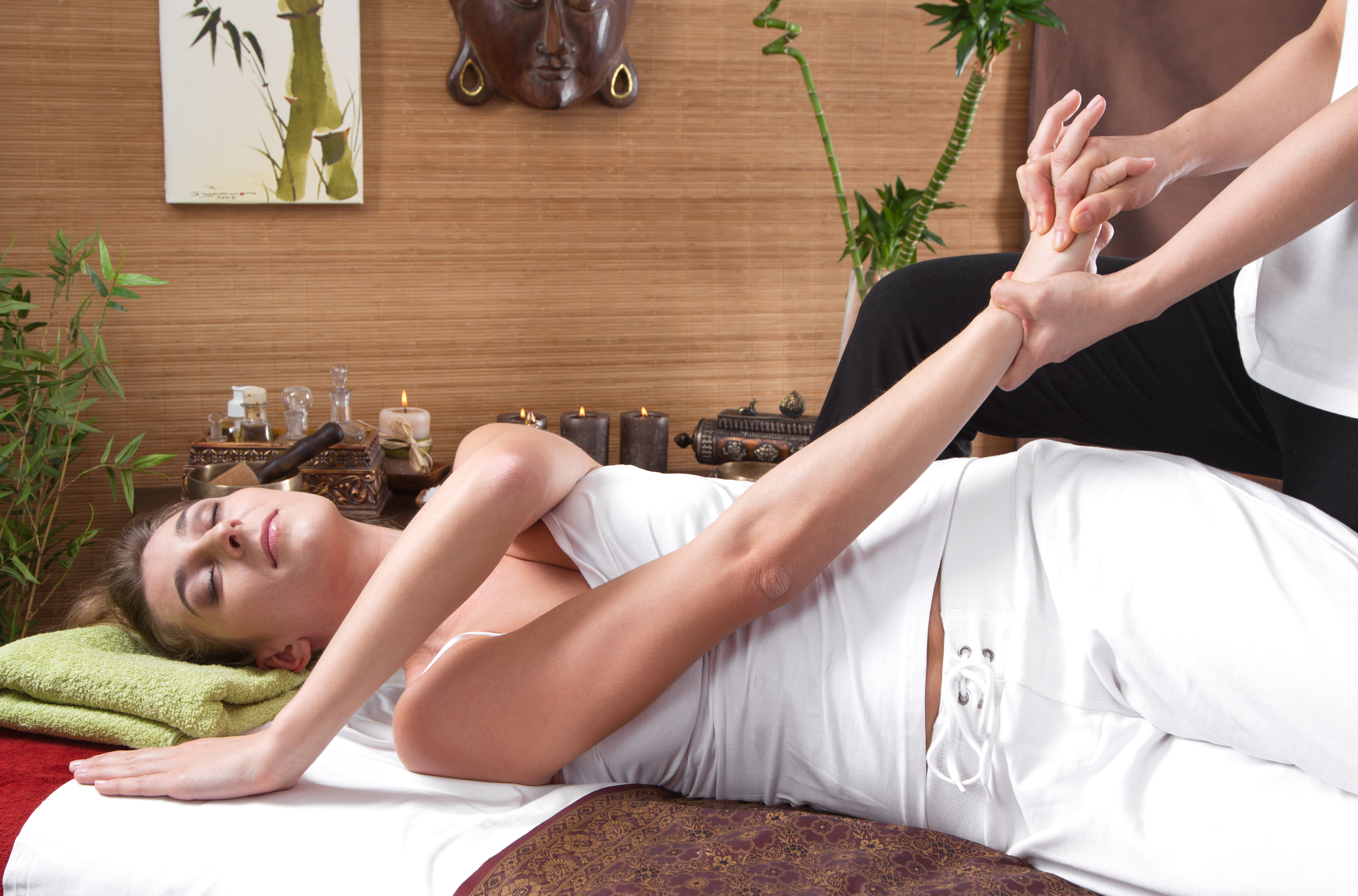 Woman during holistic therapy