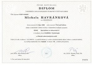 diplom, fyzioterapie, bakalář, Michala Havránková