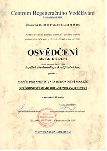 osvědčení, certifikát, masér, Michala Havránková