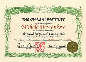 Ohashiatsu, Advanced program, Certificate, Michala Havránková, Ohashi