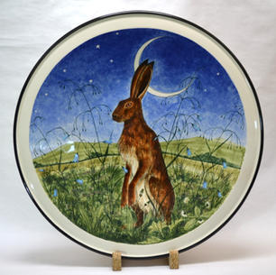 Sitting Hare with Cresent Moon