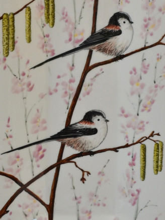Detail of Longtailed Tits & Blossom