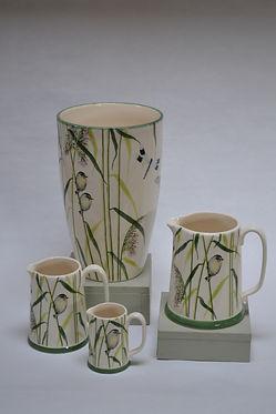 Warbler & Dragonfly Vase & Jugs Pottery.