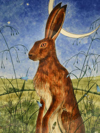 Brown Hare & cresent Moon