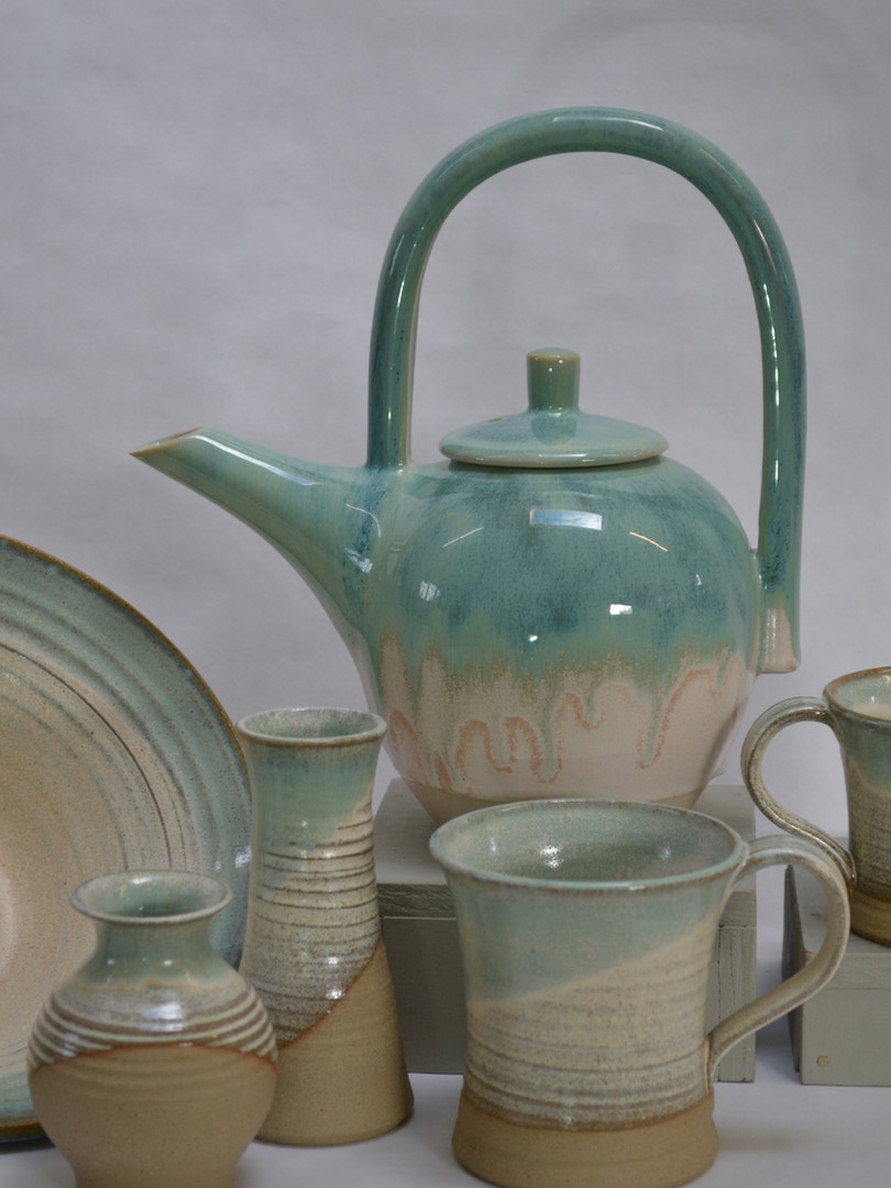 Cream & Green Stoneware