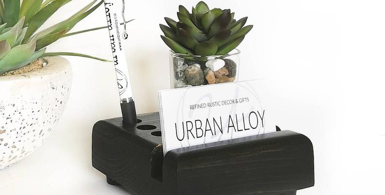 Wood Business Card Desk Organizer with Succulent Accent