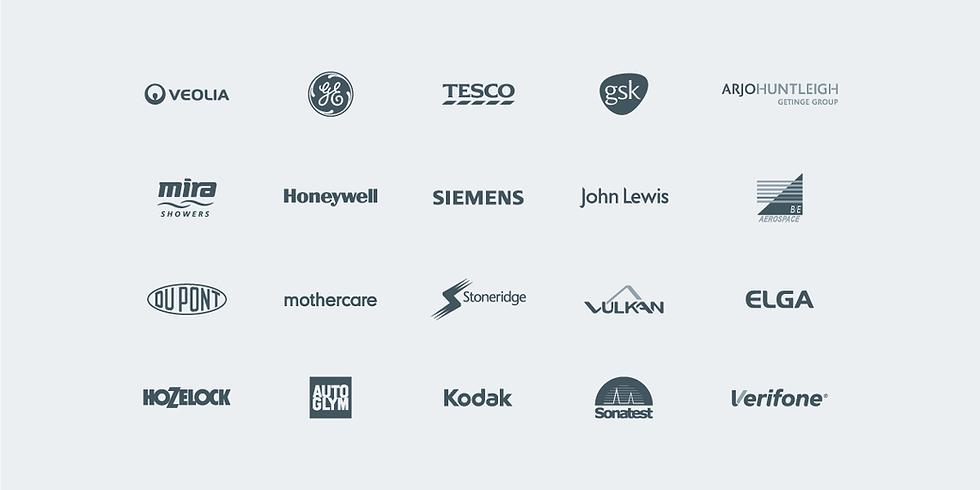 Clients, veolia, GE, Tesco, GSK, Mira, Honeywell, Arjo huntleigh, ELGA, Siemens, John Lewis, mothercare, Dupont, verifone, autoglym