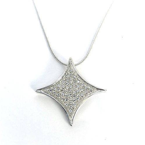 Large Stardust Star Necklace - Sterling Silver
