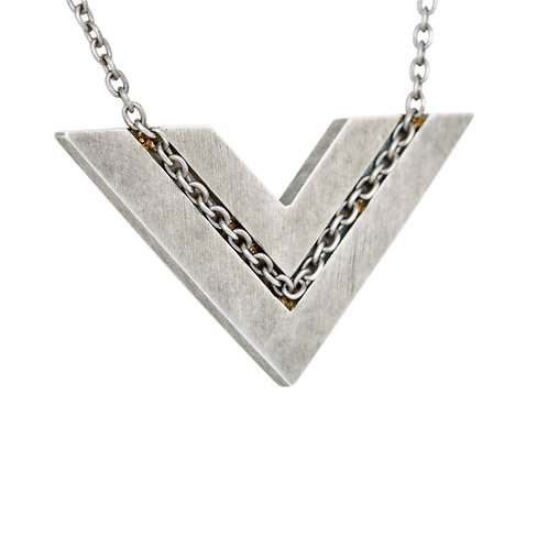 Embedded Chevron Necklace
