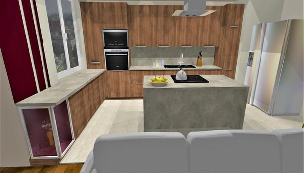 Projekt poglądowy kuchni przy salonie przejściowym