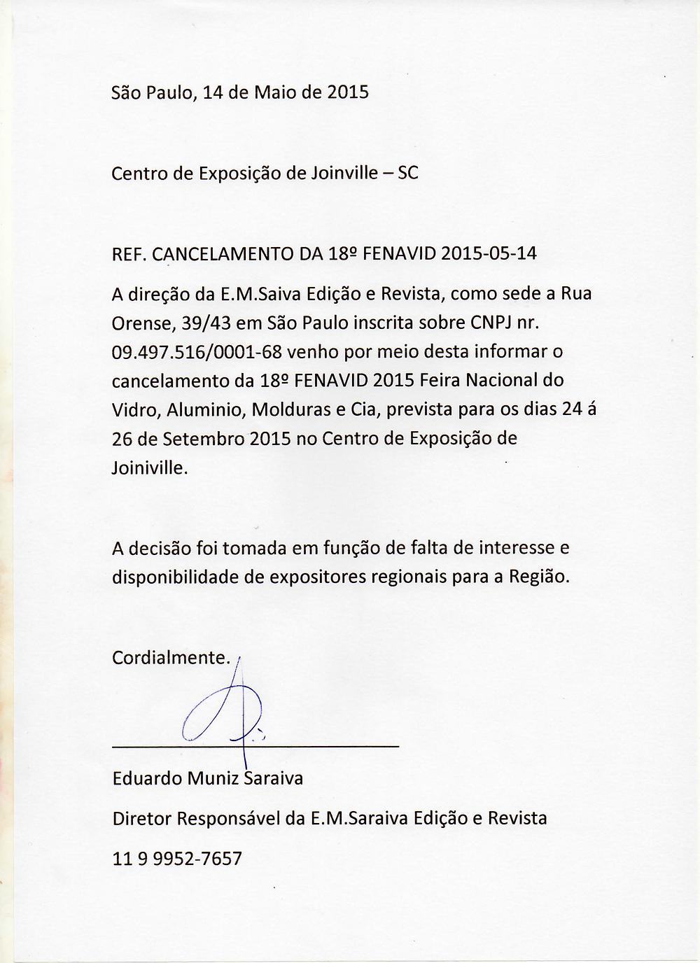 Comunicado de cancelamento da 18ª FENAVID