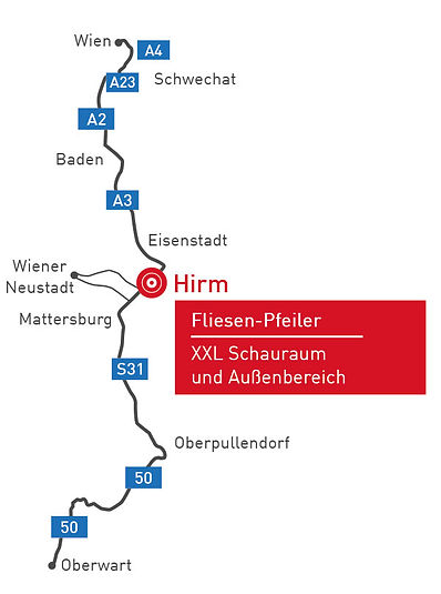 Anfahrt Fliesen Pfeiler, Hirm, Fliesen Pfeiler, Fliesen Pfeiler Karte, Baden, Eisenstadt, Mattersburg, Gols, Sopron, Oberpullendorf, Oberwart