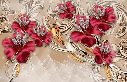 3D обои дизайн красный цветок