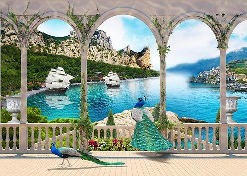 Вид на море через арки