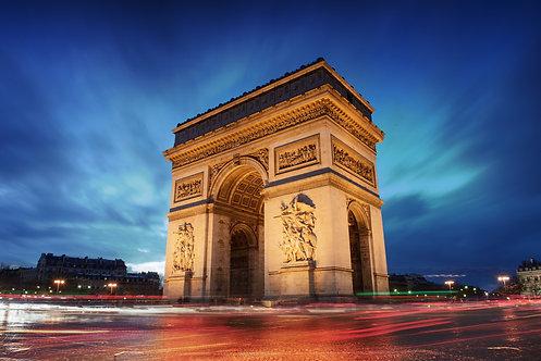 Триумфальная арка Париж город на закате