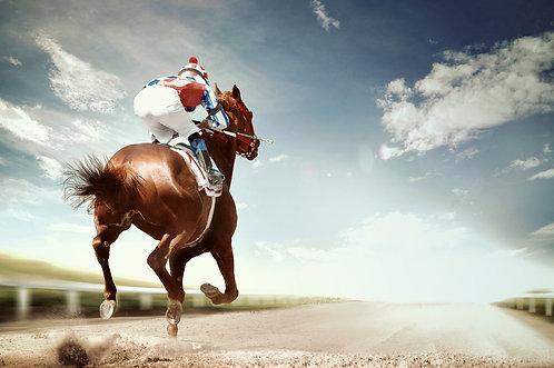 Гоночная лошадь приходит первым к финишу в винтажном стиле
