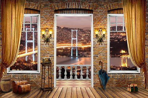 3d обои дизайн Стамбула моста в биосфоре индейки с эффектом woom и занавес окна