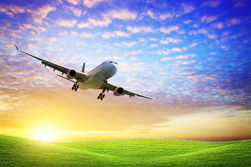 Реактивный самолет над полем