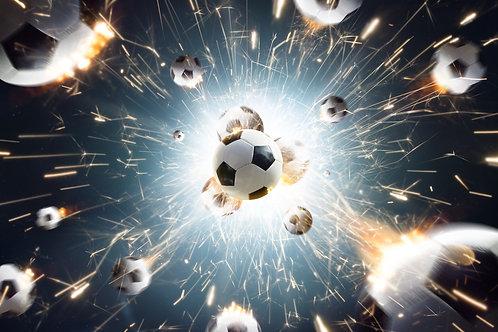 Футбольные мячи с огненными искрами в действии