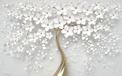 3D Серебряное дерево с цветами