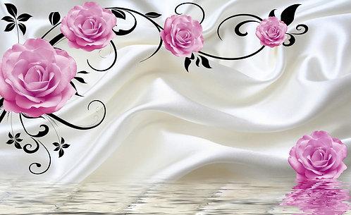 3D Цветы розы на ткани