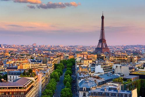 Горизонт Парижа с Эйфелева башней в Париже, Франции.