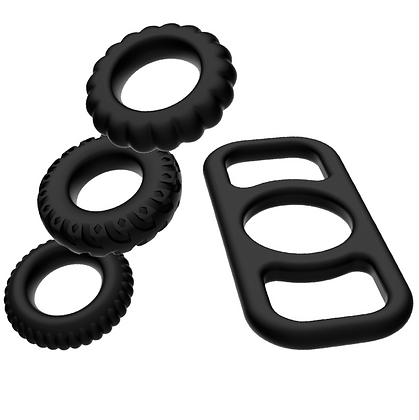 SILICONE COCK RING SET 4 PIECES