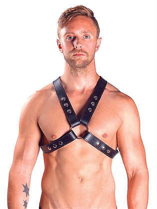MrB Leather X-Chest Harness with Snap Studs