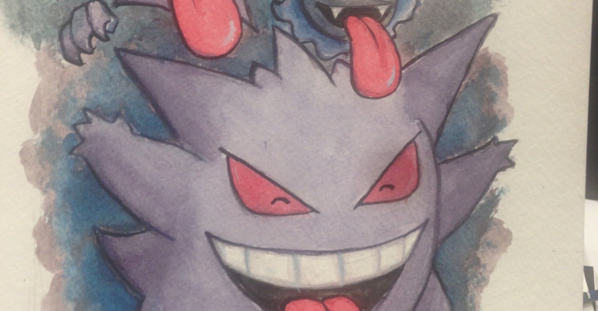 Ghastly Haunter and Gengar Watercolor.jp