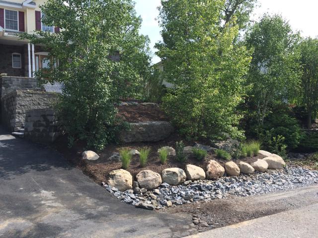 Mathiesen Landscape Design: Trees Boulder Wall