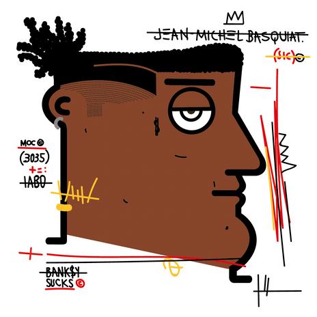 """Autore: IABO Titolo: """"Banksy Sucks"""" (Jean-Michel Basquiat) Tecnica: Acrilico e spray paint su tela Dimensione: 70x70x15 cm. Edizione di 5 pezzi Anno: 2018  Author: IABO Title: """"Banksy Sucks"""" (Jean-Michel Basquiat) Technique: Acrylic and spray paint on canvas Dimension: 70x70x15 cm. Edition of 5 pieces Year: 2018"""