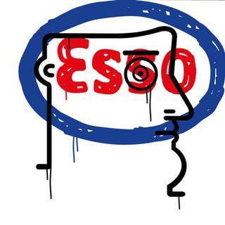 """Autore: IABO Titolo: """"Noi, voi, Esso"""" (Mario Schifano - tribute) Tecnica: Acrilico e spray paint su tela Dimensione: 50x50x15 cm. Edizione di 5 pezzi Anno: 2018  Author: IABO Title: """"Noi, voi, Esso"""" (Mario Schifano - tribute) Technique: Acrylic and spray paint on canvas Dimension: 50x50x15 cm. Edition of 5 pieces Year: 2018"""