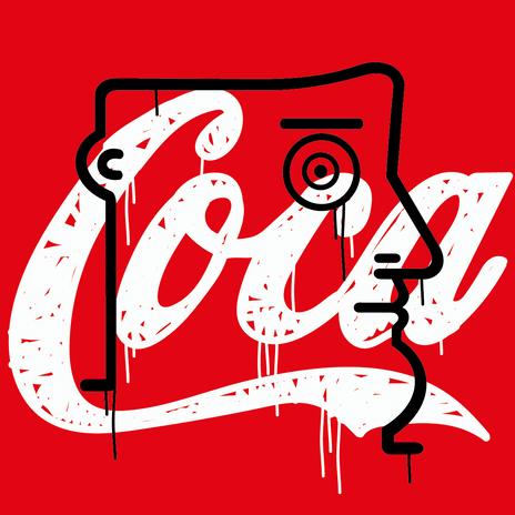 """Autore: IABO Titolo: """"Coca"""" (Mario Schifano - tribute) Tecnica: Acrilico e spray paint su tela Dimensione: 50x50x15 cm. Edizione di 5 pezzi Anno: 2018  Author: IABO Title: """"Coca"""" (Mario Schifano - tribute) Technique: Acrylic and spray paint on canvas Dimension: 50x50x15 cm. Edition of 5 pieces Year: 2018"""