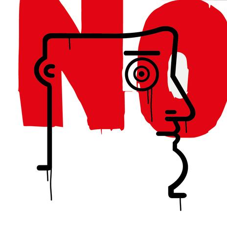 """Autore: IABO Titolo: """"No"""" (Mario Schifano - tribute) Tecnica: Acrilico e spray paint su tela Dimensione: 50x50x15 cm. Edizione di 5 pezzi Anno: 2018  Author: IABO Title: """"No"""" (Mario Schifano - tribute) Technique: Acrylic and spray paint on canvas Dimension: 50x50x15 cm. Edition of 5 pieces Year: 2018"""
