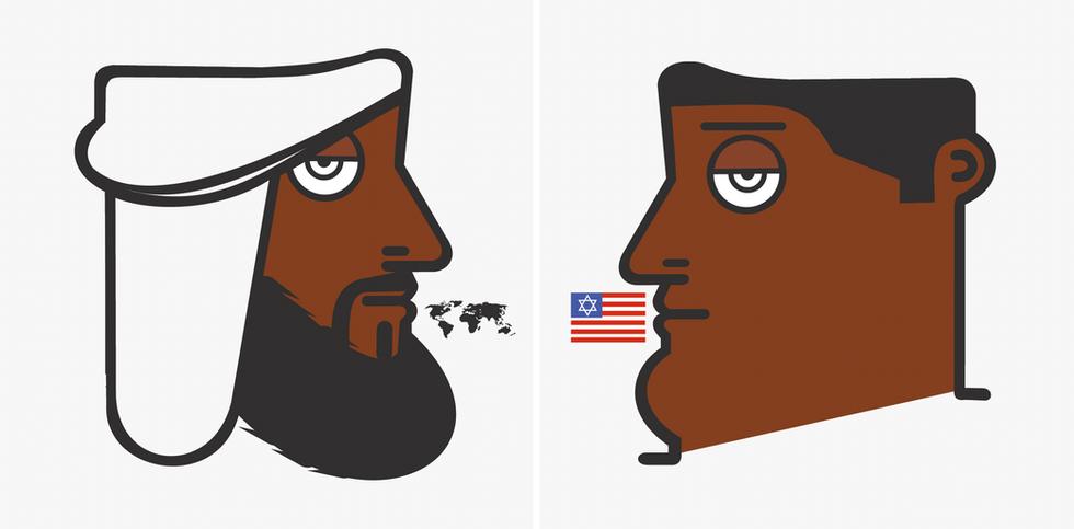 Autore: IABO Titolo: OsbAma (Osama Bin Laden & Obama) Tecnica: Acrilico e spray su tela Dimensione: 200x400x15 cm. Anno: 2011  Author: IABO Title: OsbAma (Osama Bin Laden & Obama) Technique: Acrylic and spray on canvas Dimension: 200x400x15 cm.Year: 2011