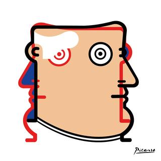 """Autore: IABO Titolo: """"Iablo Picasso"""" (Pablo Picasso) Tecnica: Acrilico e spray paint su tela Dimensione: 70x70x15 cm. Edizione di 5 pezzi Anno: 2018  Author: IABO Title:""""Iablo Picasso"""" (Pablo Picasso) Technique: Acrylic and spray paint on canvas Dimension: 70x70x15 cm. Edition of 5 pieces Year: 2018"""