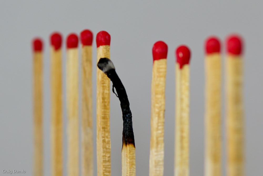 burn-out, allumette
