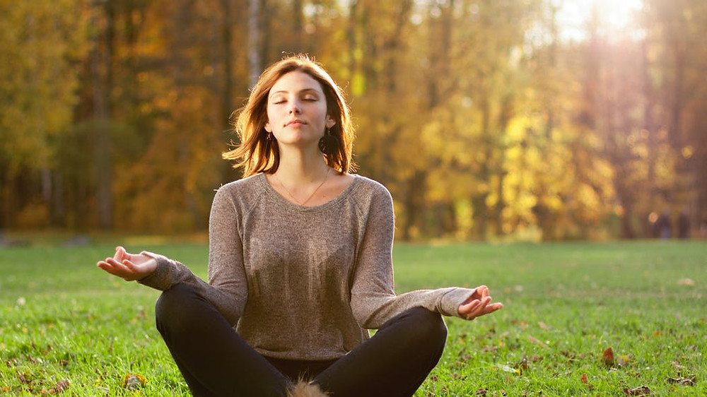 méditation, femme, nature