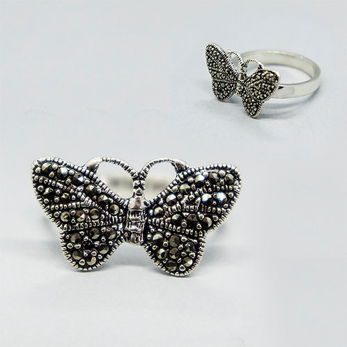 Butterfly marcasite ring #8