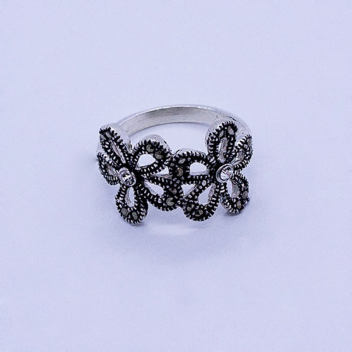 Two marcasite flowers ring #4.5