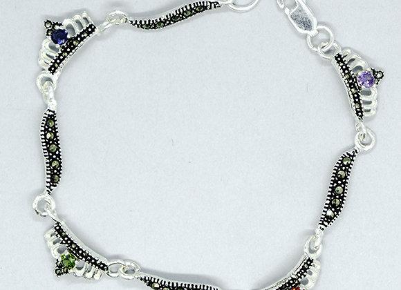 Crown marcasite bracelet