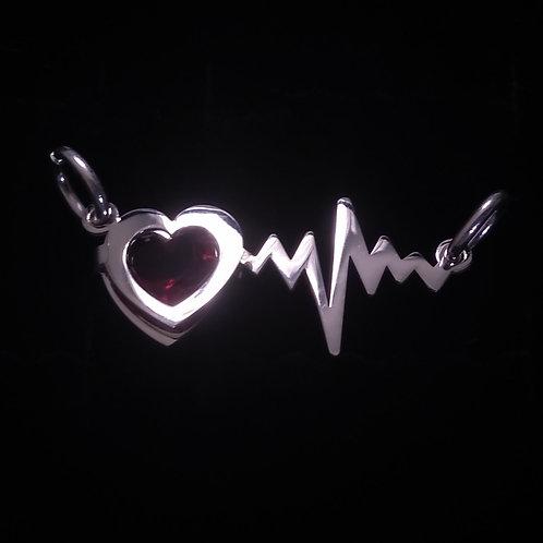 Heart-electrocardiogram pendant