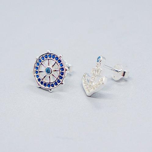 Anchor & rudder earrings