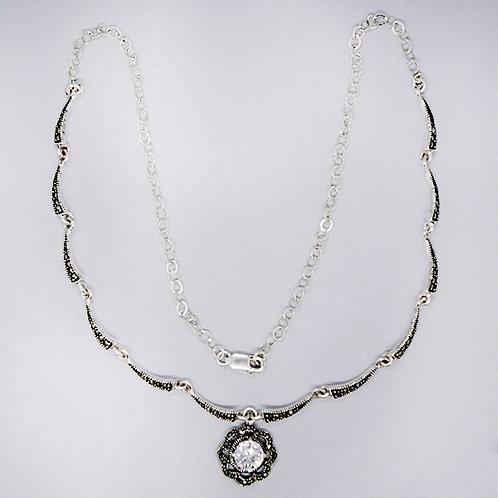 Marcasite flower necklace