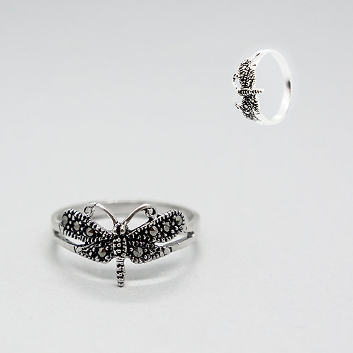 Dragonfly marcasite ring #7
