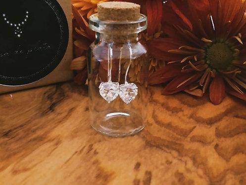 Heart zirconia earrings