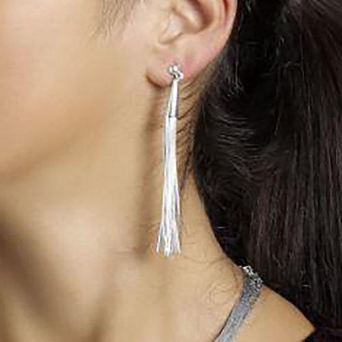 Liquid silver earrings | 20 threads