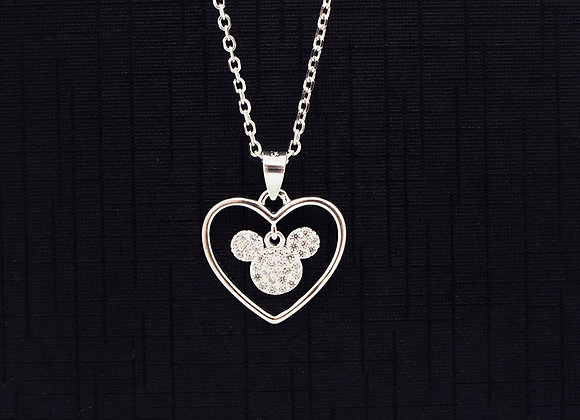 Mickey in heart silhouette necklace