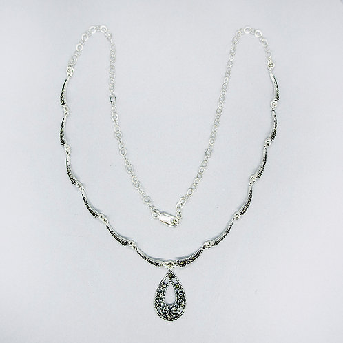 Marcasite drop necklace